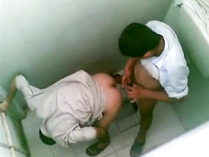 Two Arab boys fucking each other in the lavatory