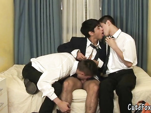 Reserved school mates get dirty in gay porn video