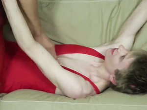 Double ass fuck in a threesome with young jocks