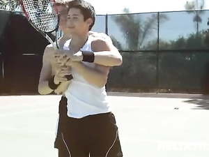 Playing tennis to play with a penis of his friend