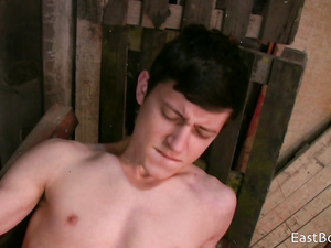 Teen twink got his boyfriend in the barn and pleasuring tight blowjob
