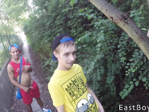 Naughty teen twinks are taking shower together after walk outdoors