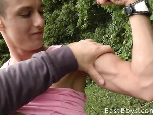 Twink hotly fondles boyfriend's young cock at the nature