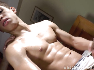 Exciting sexy twink guy oils his dick and gets it wanked off