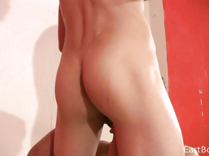 Blonde twink got his boyfriend on table and sucking off his dick