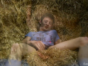 Naughty teen twink got in the barn to masturbate on hayloft