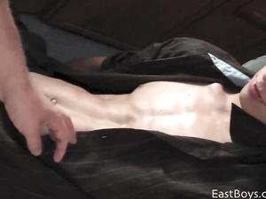Beauty twink is pleasuring hot handjob in front of the camera