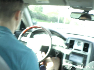 Sissy twink gets hotly fondled in the car by hunk friend