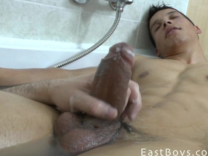 Latin gay couple loves bathroom masturbation