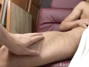 Teen sweetie twink enjoys handjob in camping trailer