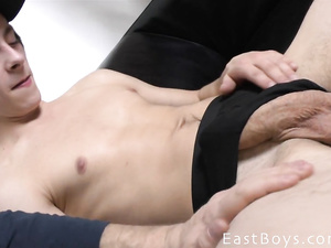 Sexy young twink got hotly fondled by his hunk boyfriend