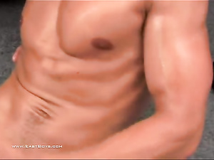 Rocky strong muscled twink gets his dick handjobed hot