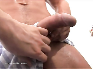 Handsome twink guy is allowing his boyfriend to fondle his tight dick