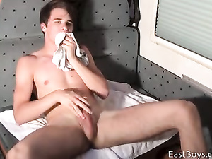 Sexy cute twink got horny outdoors and masturbating in trailer