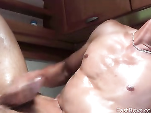 Sexy young twink is hotly wanking off his dick in bathroom