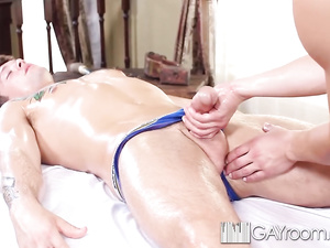 Teen brunette twink shares massage and anal in HD
