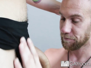 Tattooed hunk excites his fucker with awesome tight blowjob