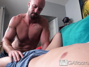 Bald hunk enjoys fucking hard young boyfriend