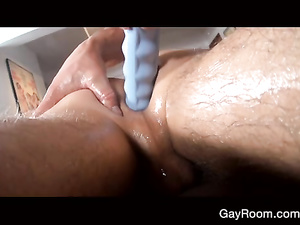 Skinny slender twink is having massage and hot fuck