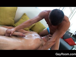 Twink lays nude for massage and gets fucked hard