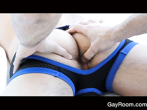 Hungry gay ass fucker twink enjoys fucking boyfriend's ass
