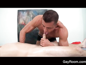 Masseur gets hotly excited from massaging young gay guy