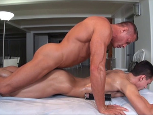 Rocky strong masseur pounds sissy twink's asshole hard
