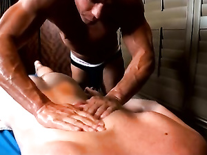 Massage and anal sex for a black-haired Caucasian