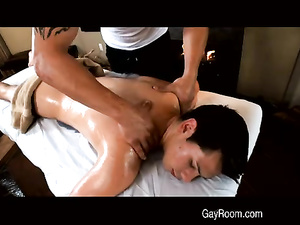Smooth and sexy brunette twink fell a sleep on massage couch