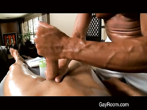 Athletically shaped young gay passionately fucking his boyfriend