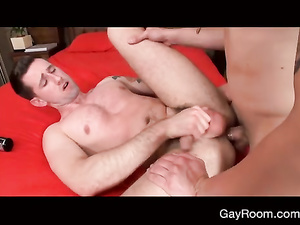 Teen gay with hot tattoos is pleasuring awesome blowjob