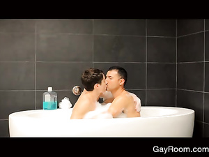 Boyfriends are taking bath before fucking hot