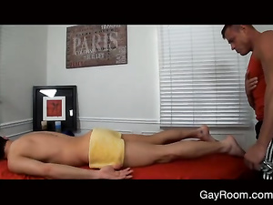 Sissy twink gets on massage couch and fucks hot with masseur