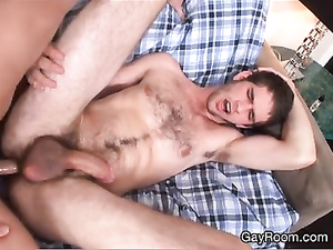 Hairy twink sucks dick and gets fucked in tight asshole