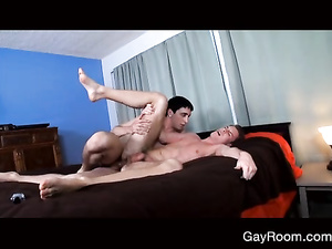 Brunette twink with tender smooth body excites his boyfriend with blowjob