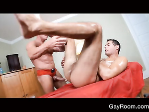 Rocky muscled Santa is fucking naughty gay masseur