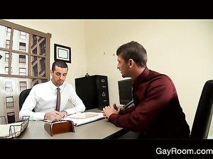 Young guy seduces office worker and fucks him on his desk