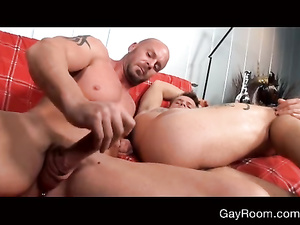 Twink with wonderful sexy body shape is passionately fucking with bald gay