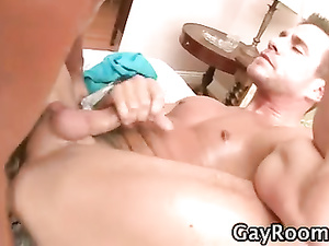 Hunk is having his asshole drilled while jerking cock