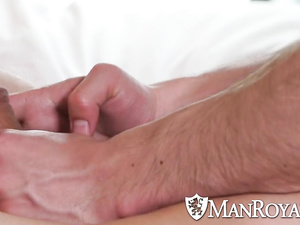Gay guy sits on nude boyfriend's back and excitingly massages him
