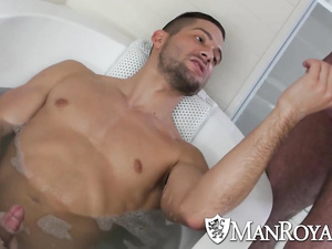 Sexy hunk caught his boyfriend wanking off in bathtub