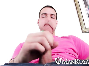 Hunk seduces young twink from online chat and invites him
