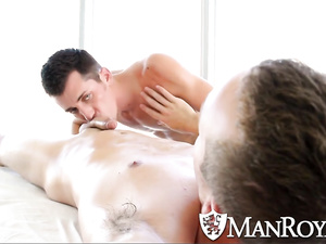 Gay boys share anal fucking after the hard massage