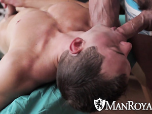 Twink gets hotly excited on massage couch