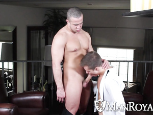 Twink with sexy haircut loves to suck boyfriend's dick