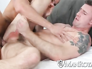 Horny gay friends with tattooed bodies are pleasantly fucking