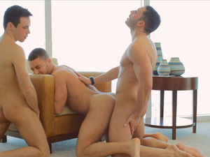 Three twinks are pleasuring hot gay threesome fuck