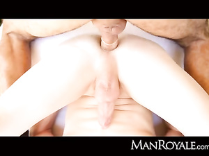 Ginger and brunet ten twink are passionately fucking outdoors