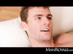 Brown haired gay is exciting blond twink with hot blowjob