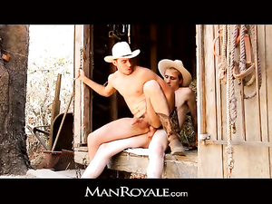 Young cowboys are pleasuring hot gay anal fuck in barn